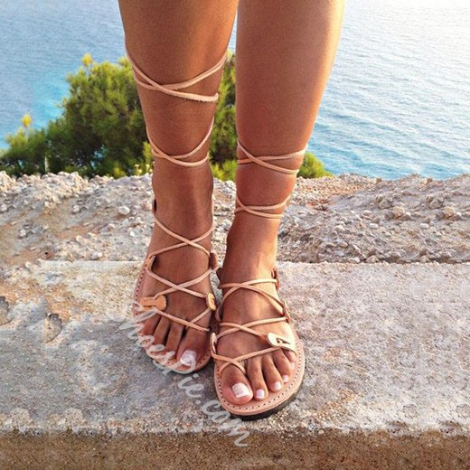 Shoespie Easy Beach Casual Lace Up Flat Sandals