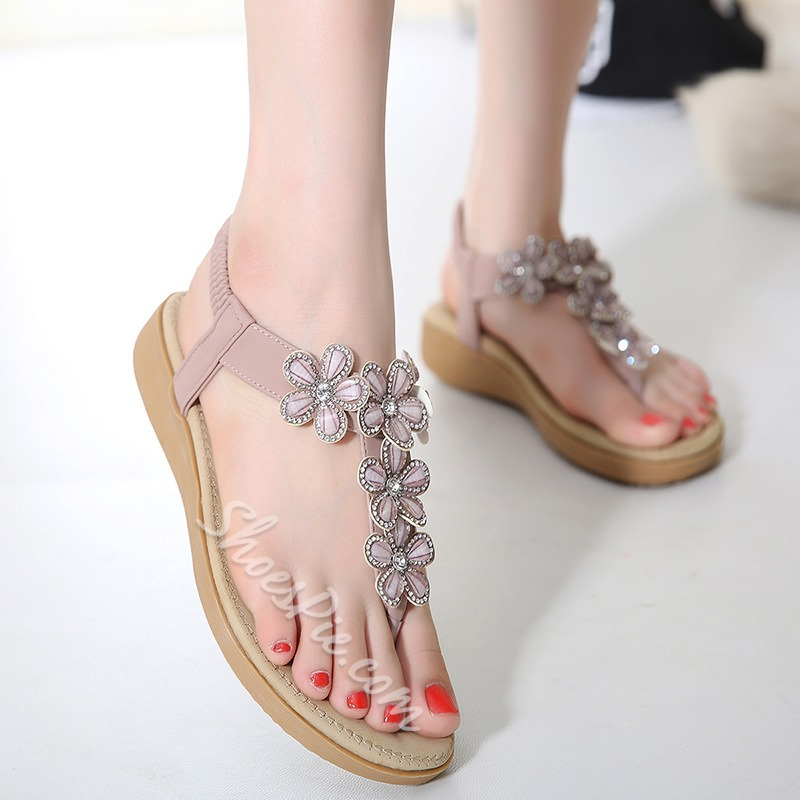 Shoespie Flowers Thong Flat Sandals