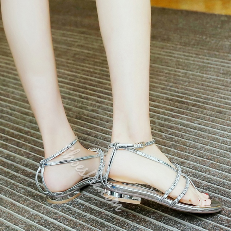 Shoespie Rhinestone Strappy Flat Sandals