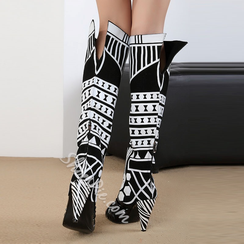 Shoespie Black Print Peep Toe Knee High Boots