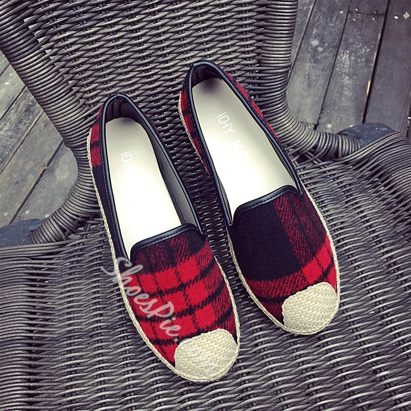 Shoespie Beach Plaid Loafers