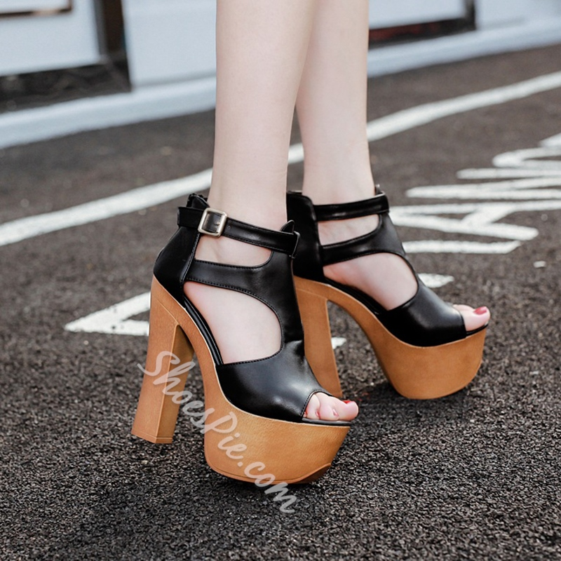 Shoespie Wooden Outsole Platform Sandals