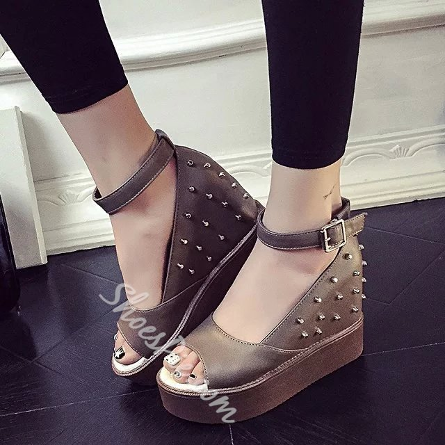 Shoespie Rivets Wedge Sandals