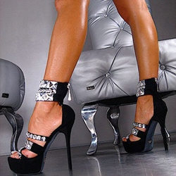 Shoespie Black Rhinestones Ankle Wrap Platform Sandals
