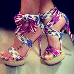 Shoespie Colorful Lace Up Platform Sandals