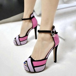 Shoespie Chic Contrast Color Geometric Printed Platform Heels
