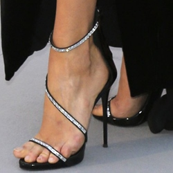 Shoespie Black Rhinestone Strappy Dress Sandals