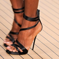 Shoespie Sexy Black Strappy Sandals