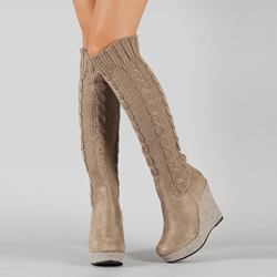 Shoespie Knitting Wedge Heel Knee High Boots