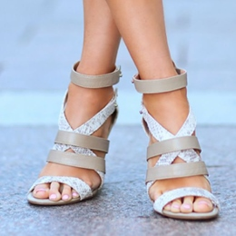 Shoespie Color Block Strappy Sandals