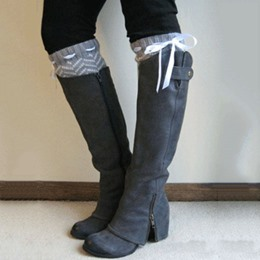 Fashionable Gray Coppy Leather Knee High Boots with Chic Zipper Decoration