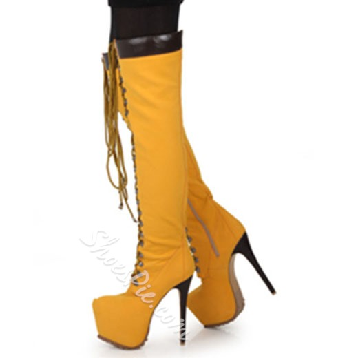 Breathtaking Coppy Leather Lace-Up Knee High Boots