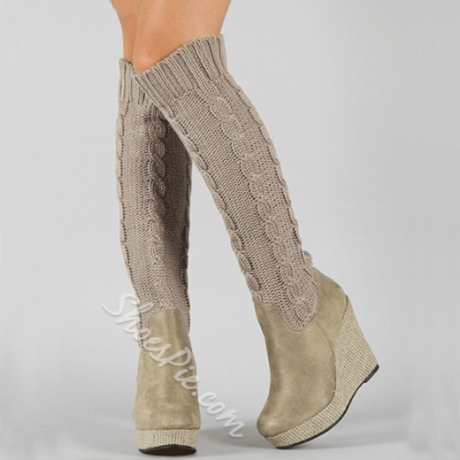 Fashion Knitting Wedge Heels Knee High Boots