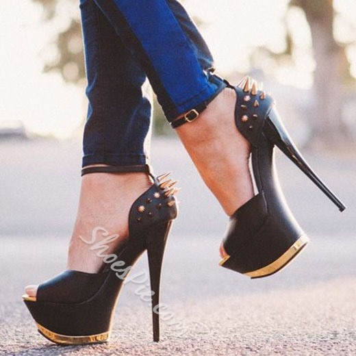 Shoespie Black Rivets Two Part Platform Heels