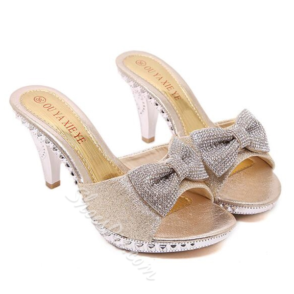 Shoespie Luxurious Rhinestone Bowtie Mule Shoes
