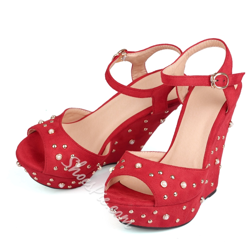 Shoespie Pearls Beading Wedge Sandals