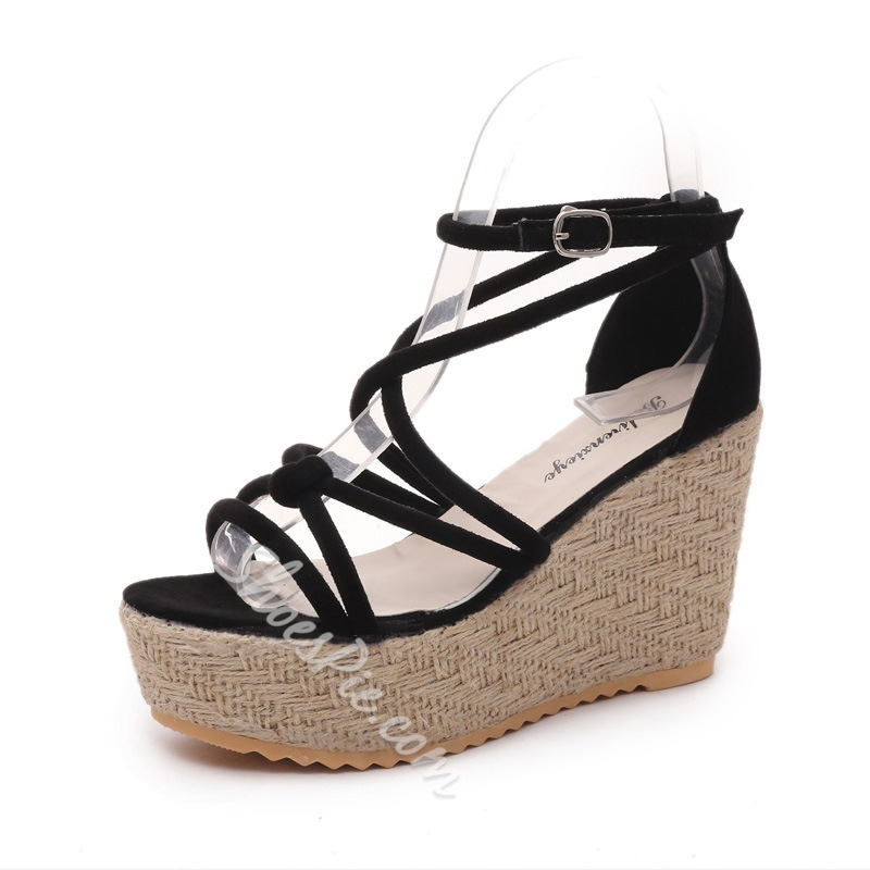 Shoespie Black Strappy Wedge Sandals