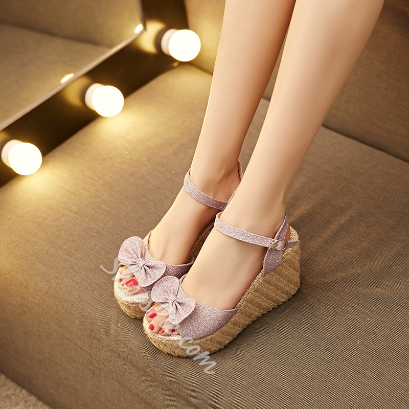 Shoespie Cute Bow Wedge Sandals
