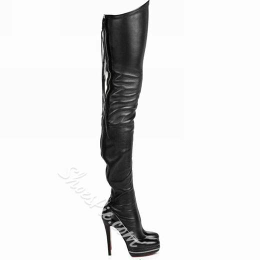Sexy Back Zipper Genuine Leather Over Knee High Boots