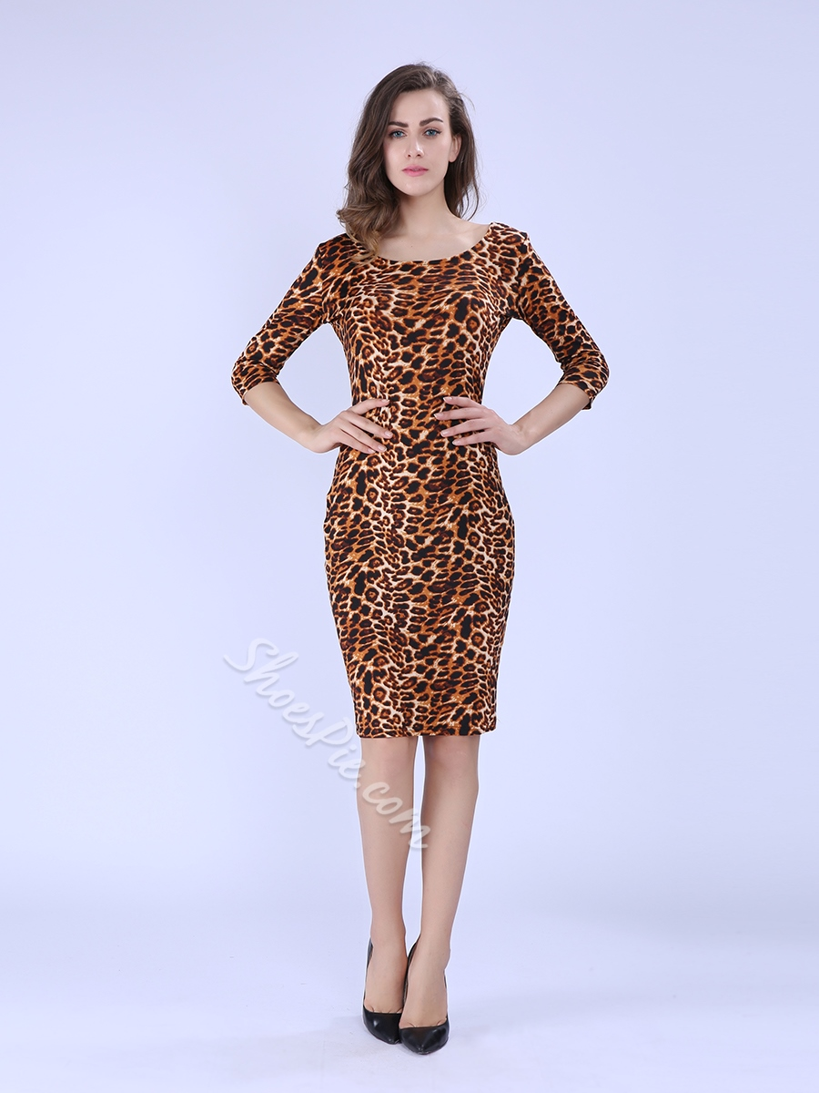 Sexy Leopard Half Sleeve Bodycon Dresses