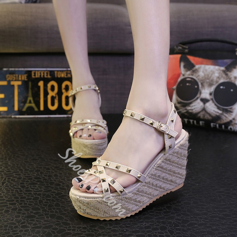 Shoespie Rivets Rattan Grass Wedge Sandals