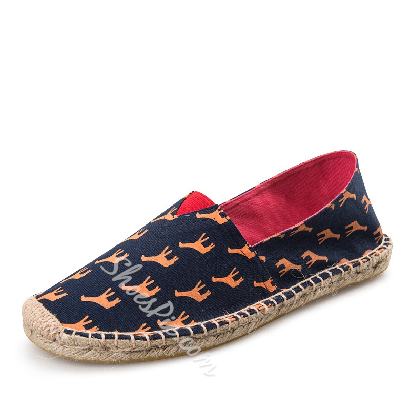 Shoespie Cute Print Rattan Grass Men's Loafers