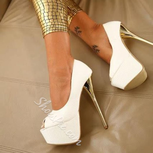 Shoespie Chic White Color Peep Toe Platform Heels