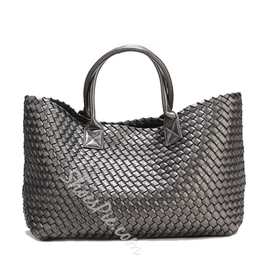 Shoespie Yellow Weave Tote Straw Bag