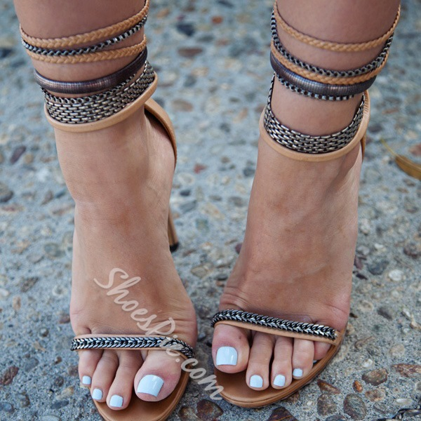 Shoespie Chains Ankle Wrap Sandals