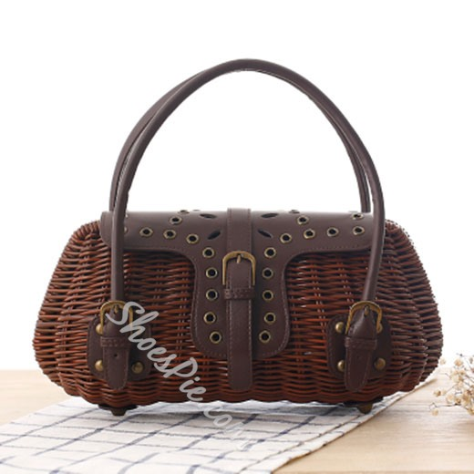 Shoespie Delicate Belted Straw Bag