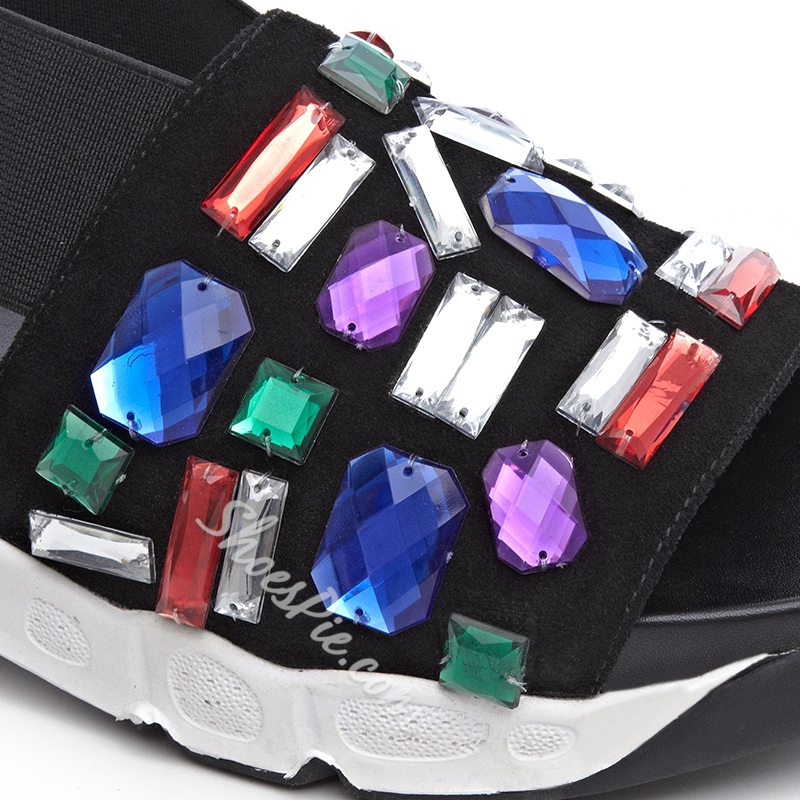 Shoespie Colorful Rhinestones Flat Sandals