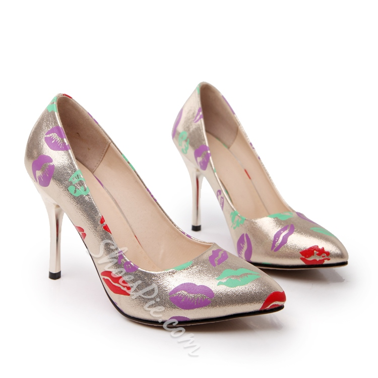 Shoespie Lip Print Stiletto Heels