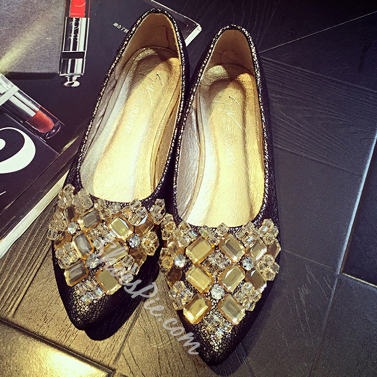 Shoespie Gorgeous Rhinestone Loafers