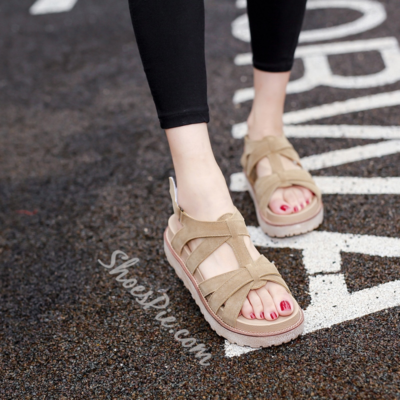 Shoespie Apricot Strappy Flat Sandals