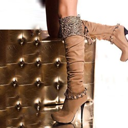 Shoespie Suede Side Zipper Chains Knee High Boots