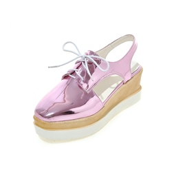 Shoespie Round Toe Backless Lace Up Sneakers