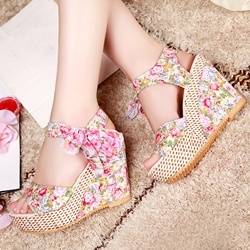 Shoespie Bohemia Flower Print Wedge Sandals