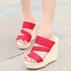 Shoespie Fashion Open Toe Wedge Heel Mule Shoes