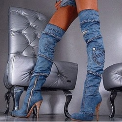 Stylish Denim Over Knee High Boots