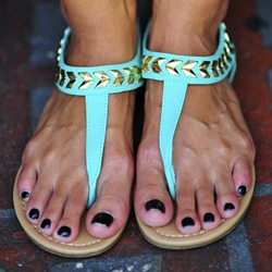 Shoespie Cyan Flat Sandals