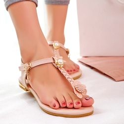 Shoespie Bohemia T Bar Flat Sandals
