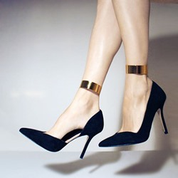 Shoespie Black Solid Color Stileeto Heels