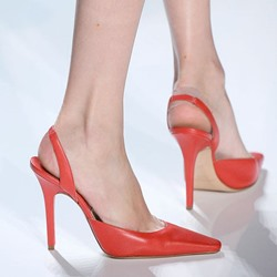 Shoespie Chic Orange Pointed Slingback Stiletto Heels