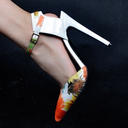 Shoespie Orange Flower Ankle Wrap Stiletto Heels
