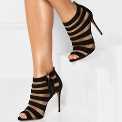 Shoespie Black Suede & Mesh Open Toe Stiletto Heels