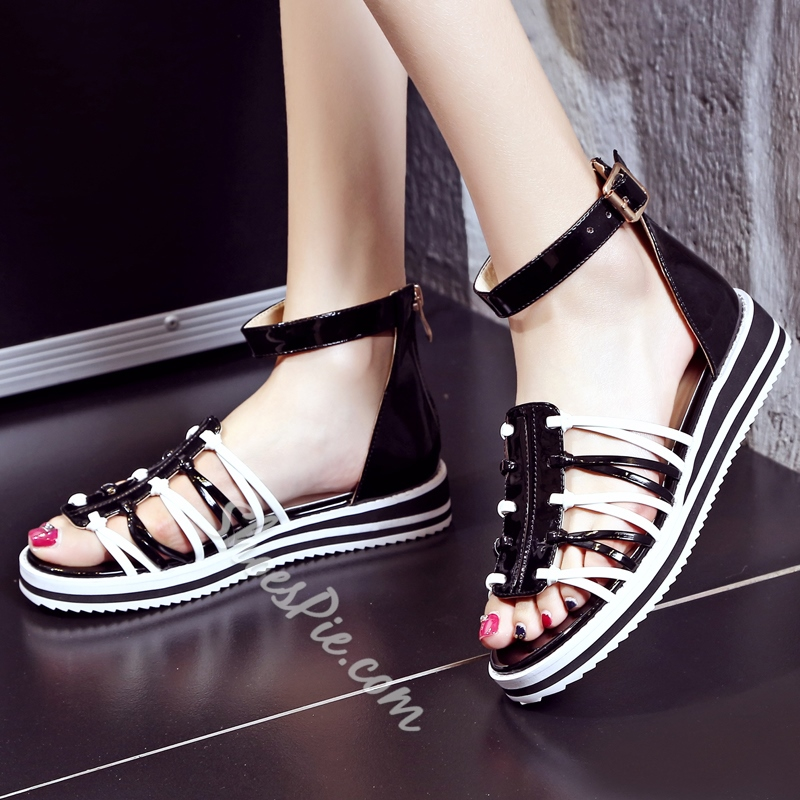 Shoespie Beach Open Toe Ankle Wrap Flat Sandals
