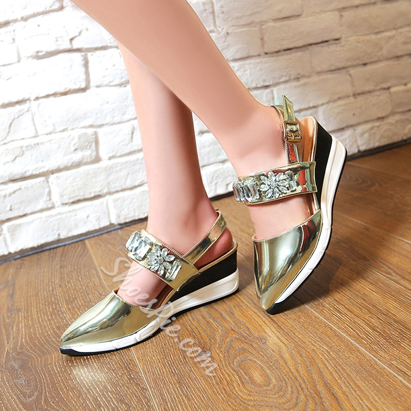 Shoespie Unique Rhinestone Wedge Sandals