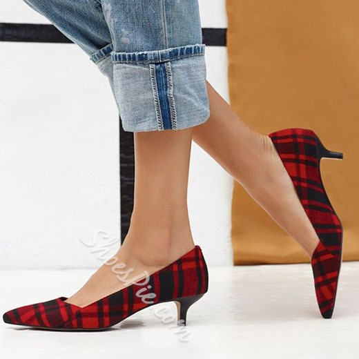 Shoespie Chic Red Plaid Kitten Heels