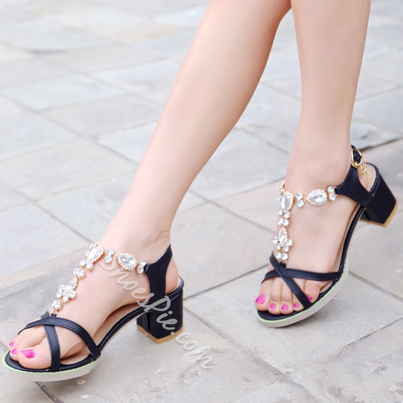 Shoespie Chic Jewelled Chunky Heel Dress Sandals