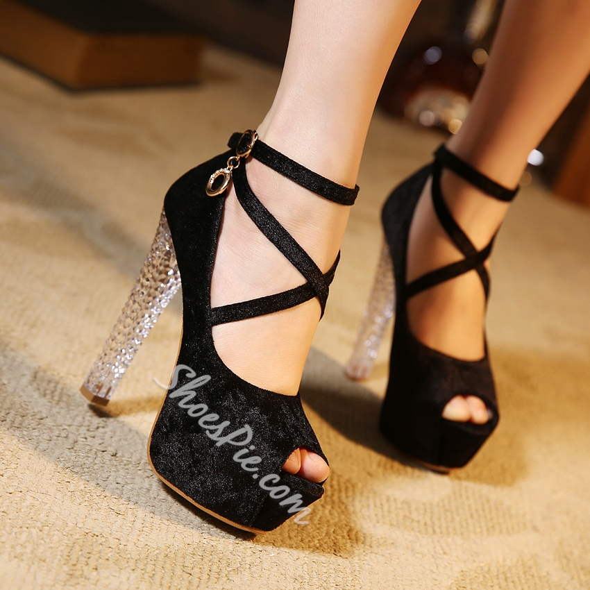 Shoespie Simply Cross Strap Peep Toe Platform Heels